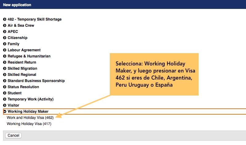 postulacion segundo año working holiday visa