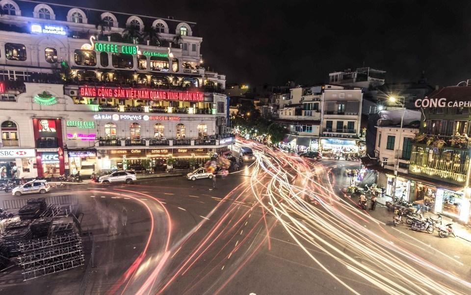 el centro de Hanoi desde las alturas