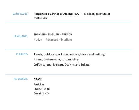 modelo cv para trabajar en australia