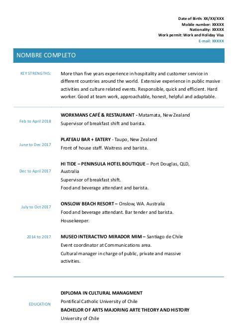 modelo de curriculum para trabajar en australia