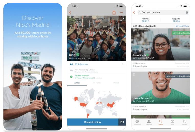 apps de viajes couchsurfing para alojamiento