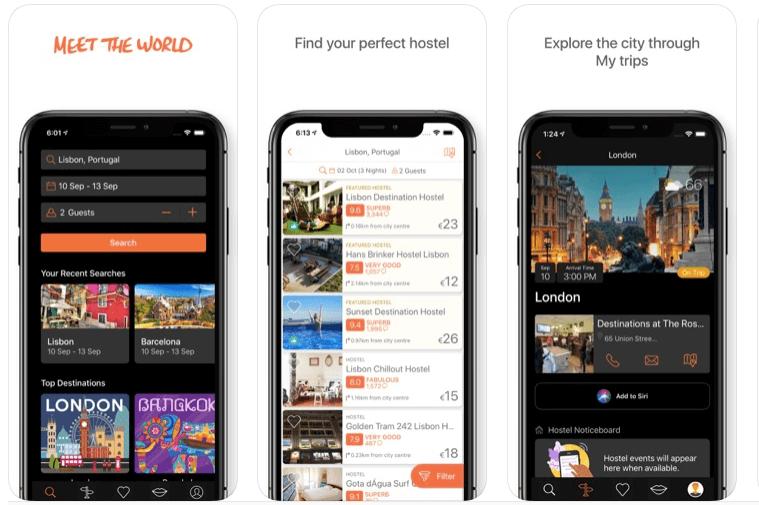 apps de viajes hostel world para alojamiento