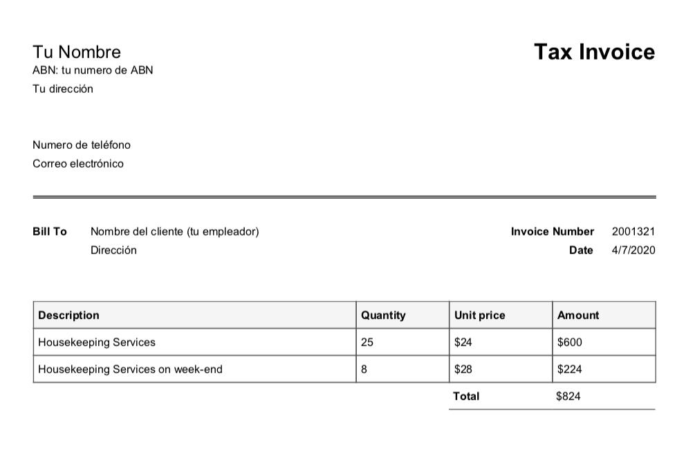 ejemplo de boleta o invoice para trabajar con ABN en Australia