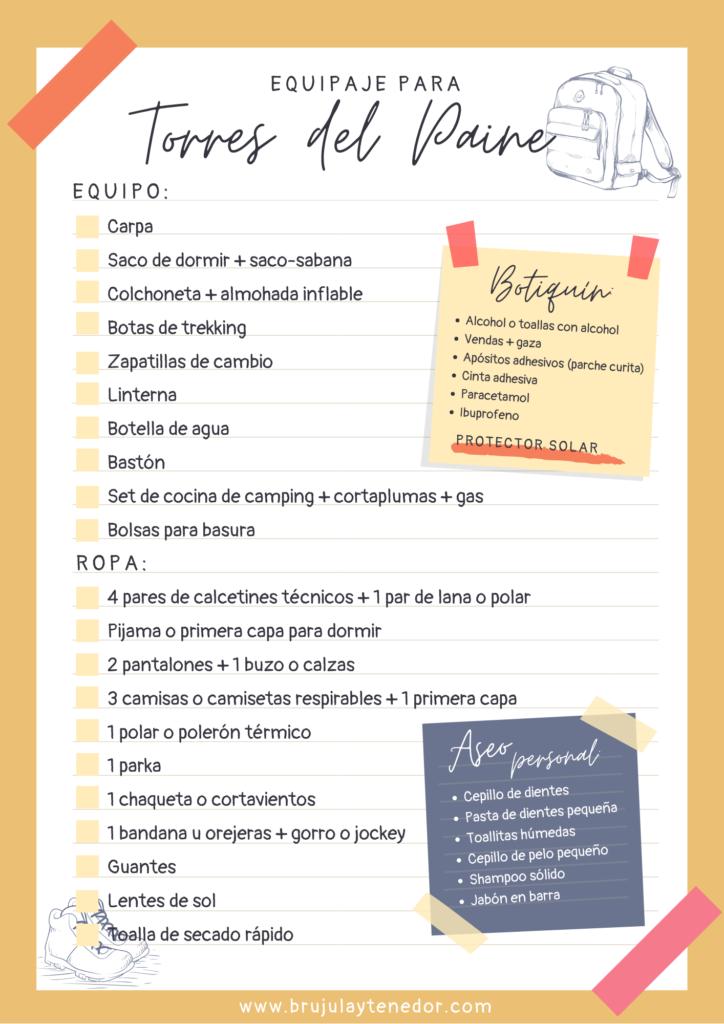 lista de equipaje para Torres del Paine