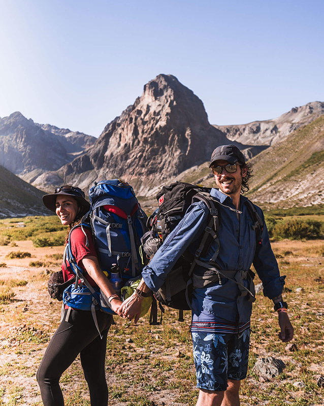 Carla y Edu trekking en Chile